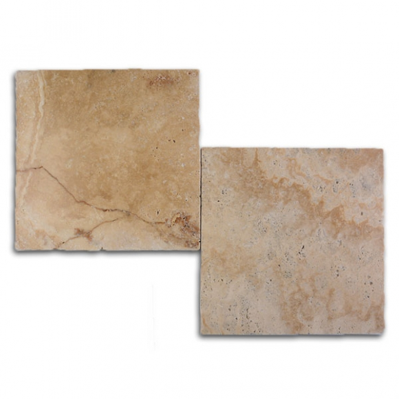 12x12 Medium River Select Tumbled Travertine Paver