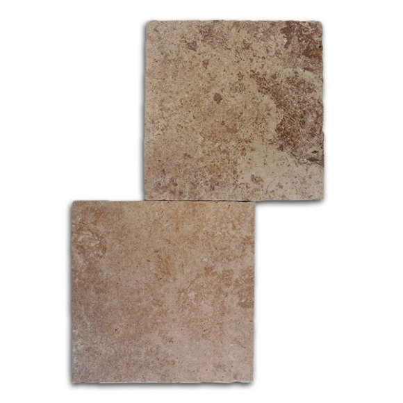 12x12 Roman Blend Walnut Select Tumbled Travertine Paver