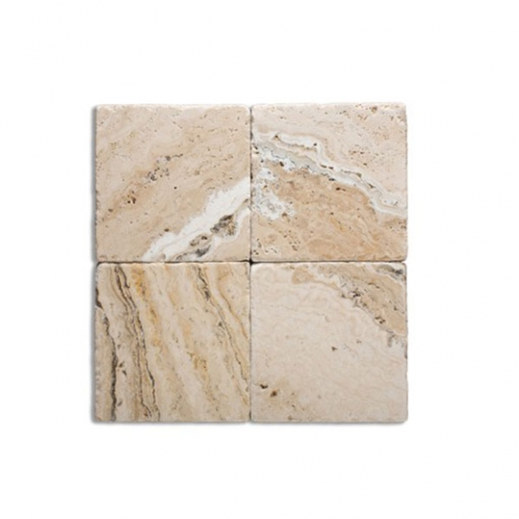 4X4 Leonardo Tumbled Travertine TILE
