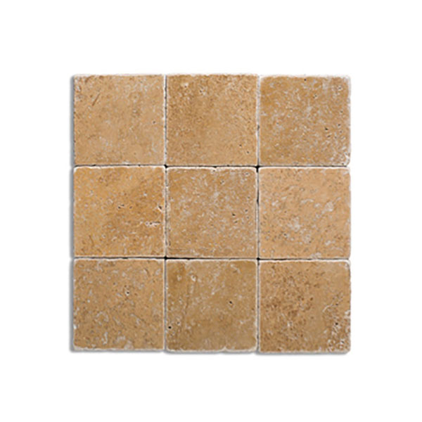 tumble travertine 4x4 noce and glass mosaic backsplash