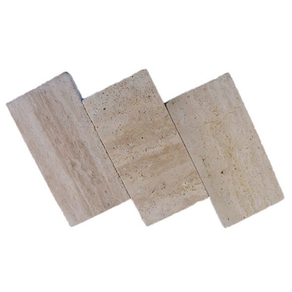 6x12 Cream Medium River Select Vein Cut Tumbled Travertine Paver