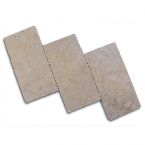 6x12 Cream Pearl Tumbled Travertine Paver