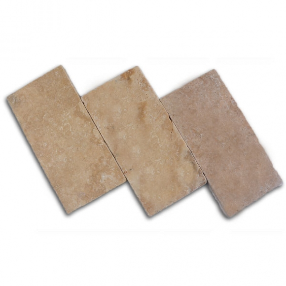 6x12 Medium River Select Tumbled Travertine Paver