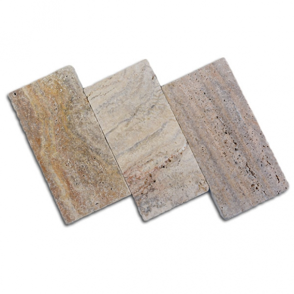 6x12 Savannah Sunset Select Tumbled Travertine Paver