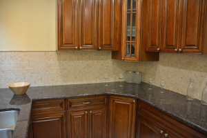 Marble mosaic backsplash