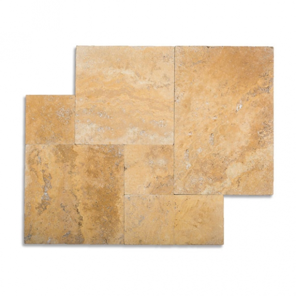 French Pattern Desert Gold Select Brushed-Chiseled Travertine Tile