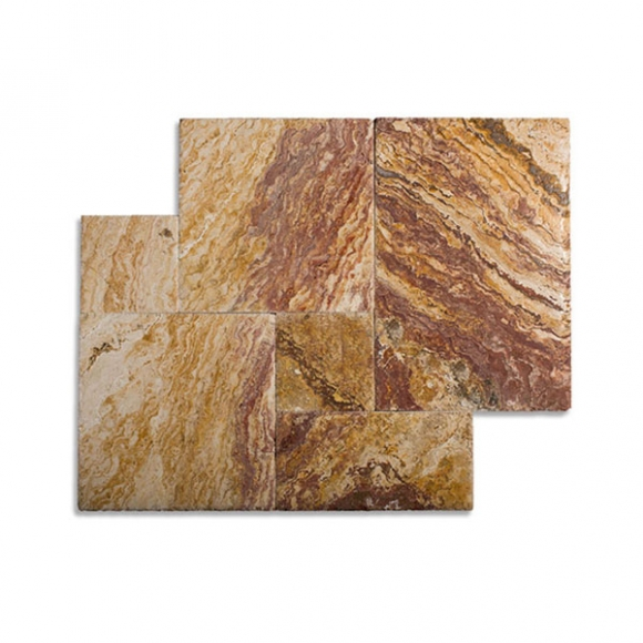 French Pattern Autumn Blend Select Tumbled Travertine Paver