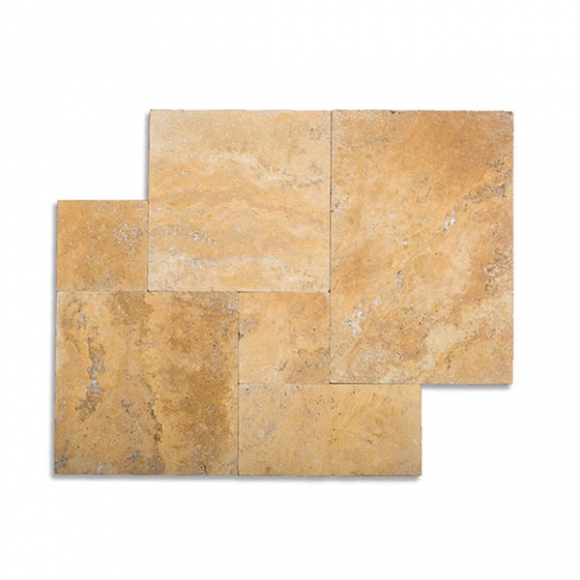 French Pattern Desert Gold Select Tumbled Travertine Paver