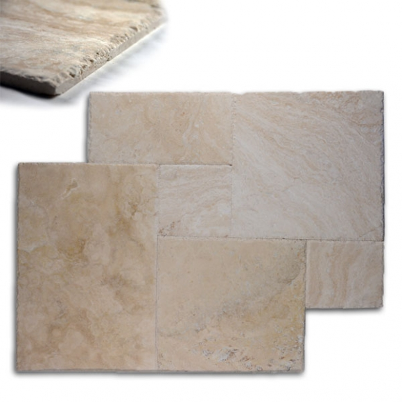 French Pattern Lycus River Filled-Brushed And Chiseled Travertine Tile