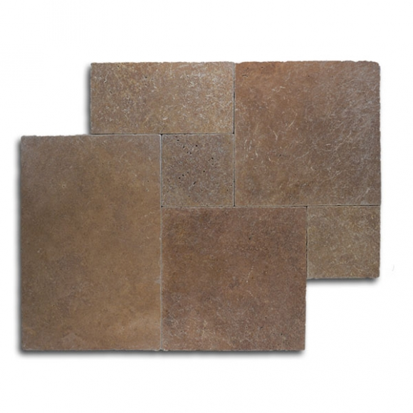 French Pattern Noce Select Tumbled Travertine Paver