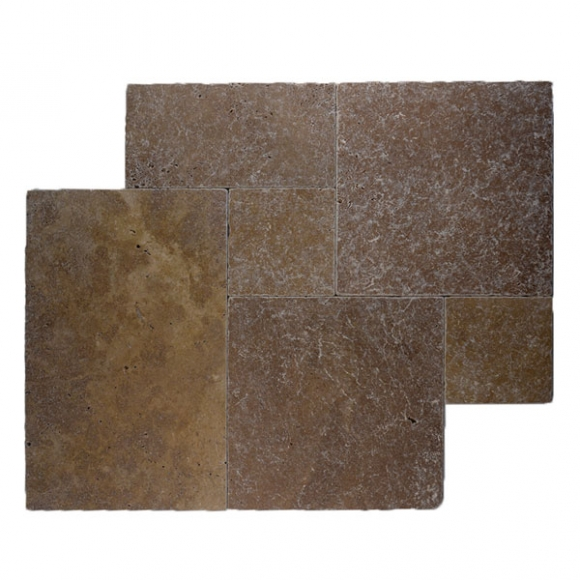French Pattern Royal Noce Dark Select Tumbled Travertine Paver