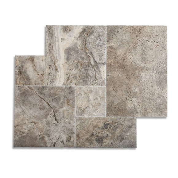 French Pattern Silver Brushed-Chiseled Travertine Tile