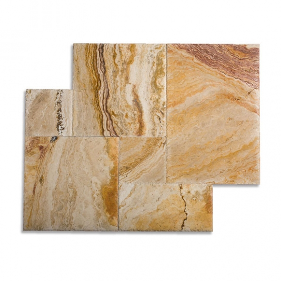 French Pattern Autumn Blend Brushed Chiseled Travertine Tile
