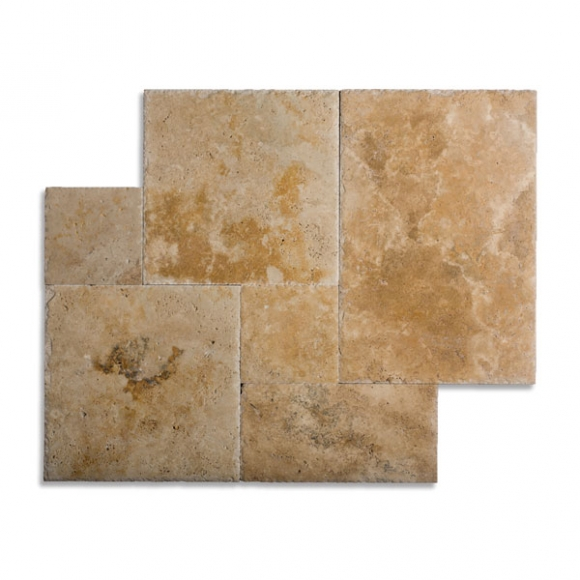 French Pattern Country Classic Brushed-Chiseled Travertine Tile