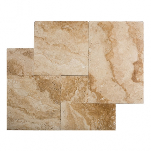 French Pattern Medium River Select Tumbled Travertine Paver