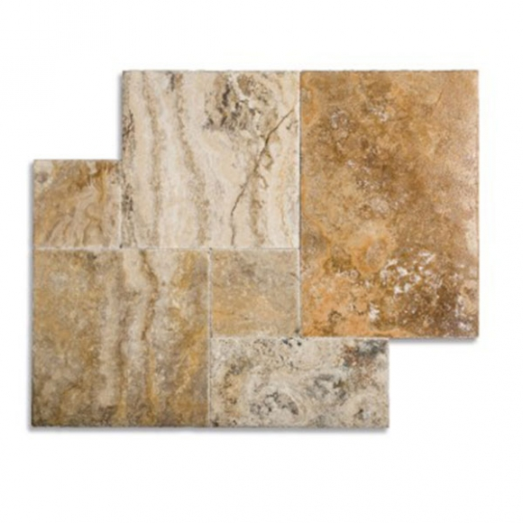 French Pattern Cappadocia Brushed-Chiseled Travertine Tile