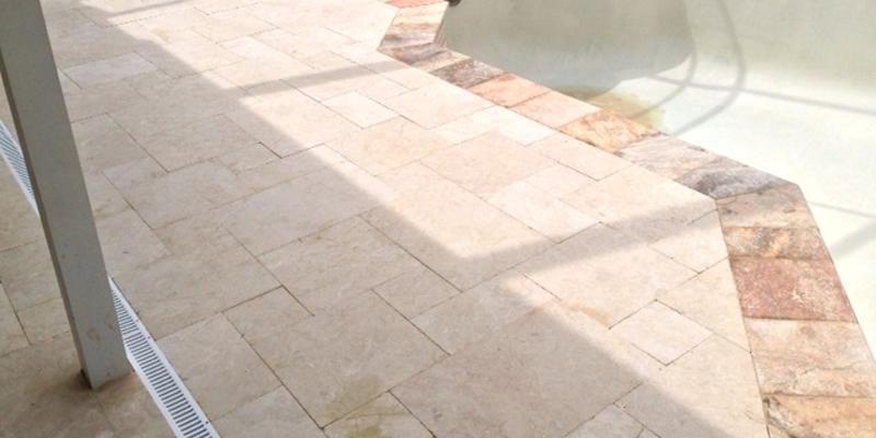 marble pool deck | tumbled marble pool pavers | travertine warehouse