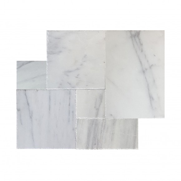French Pattern CARRARA WHITE Brushed-CHISELED Marble Tile