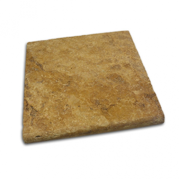 12x12 Desert Gold Tumbled Travertine Pool Coping