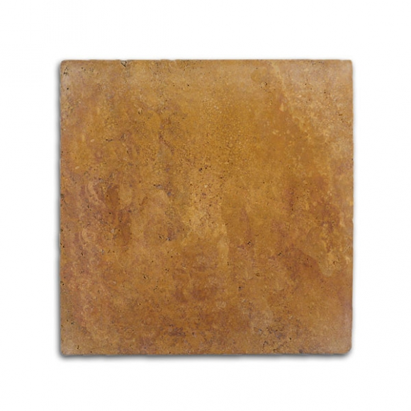 16x16 Desert Gold Select Tumbled Travertine Paver