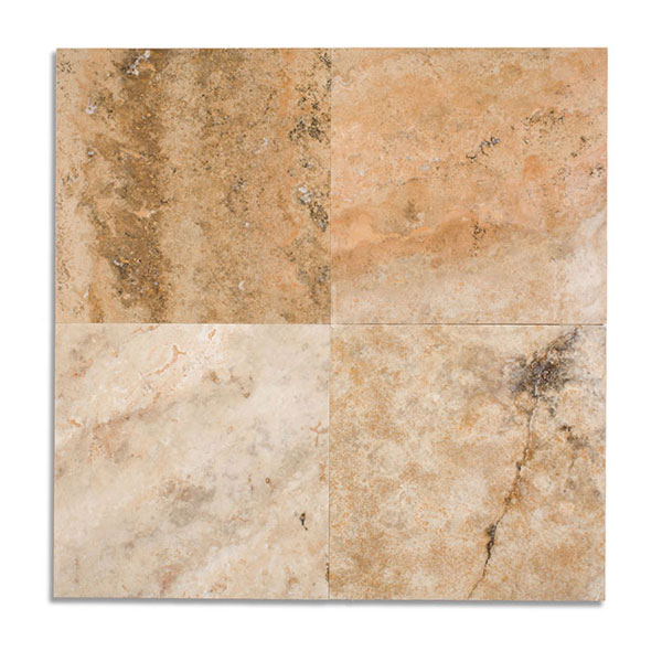 Ivory Light Honed Filled Travertine Tiles 18x18: 18x18 Noce Premium Unfilled Brushed-Chiseled Tile