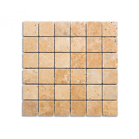 2x2 Gold Tumbled Travertine Mosaic