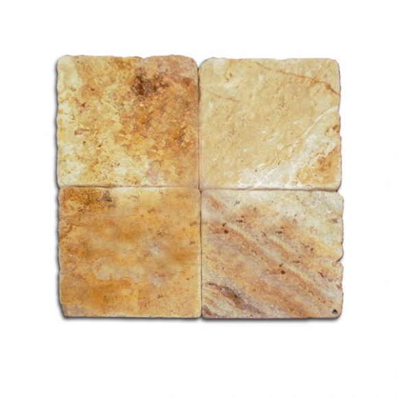 4X4 AUTUMN BLEND Tumbled Travertine TILE