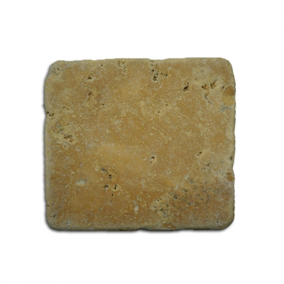 4x4x1-1/2 Desert Gold Tumbled Travertine Paver