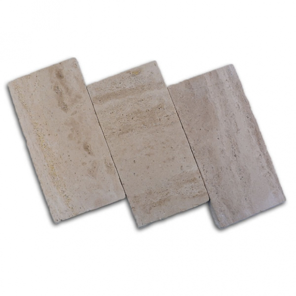 6x12 Lycus Ivory River Select Vein Cut Tumbled Travertine Paver