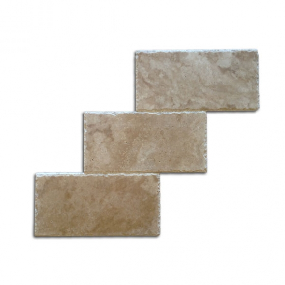 6x12 Roman Walnut Select Chiseled-Honed Travertine Paver