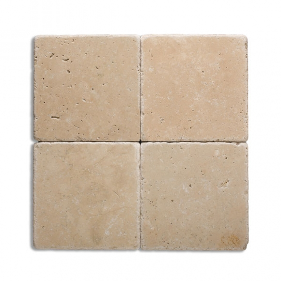 6x6 Ivory Select Tumbled Travertine Paver