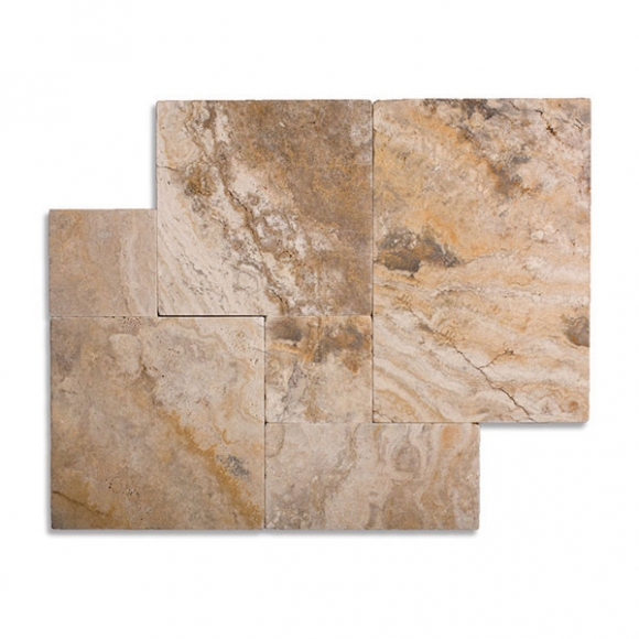 French Pattern Cappadocia-Scabos Select Tumbled Travertine Paver