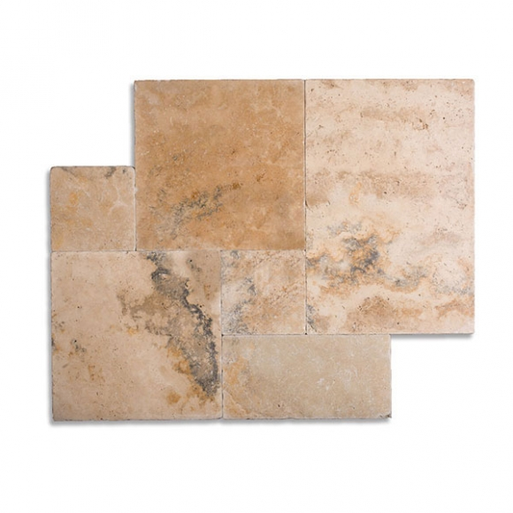 French Pattern Country Classic Select Tumbled Travertine Paver