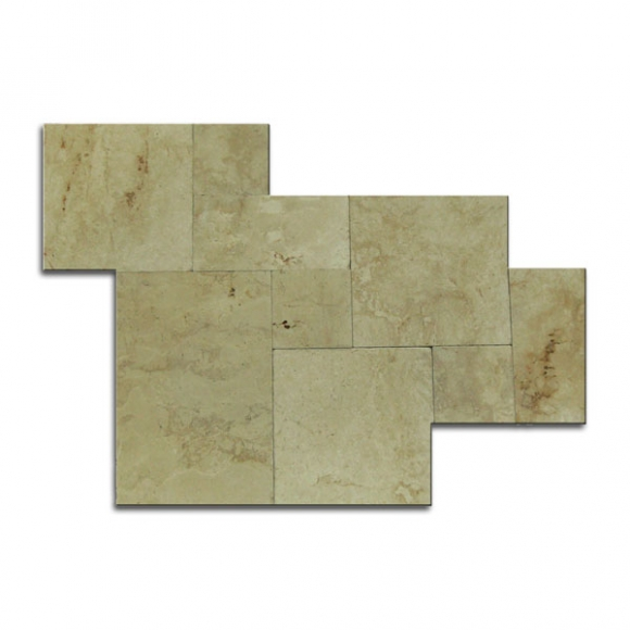 French Pattern Crema Pearl Tumbled Marble Paver