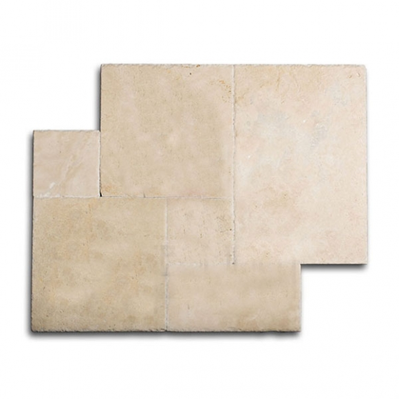 French Pattern VORY CREAM SELECT Tumbled Travertine PAVER