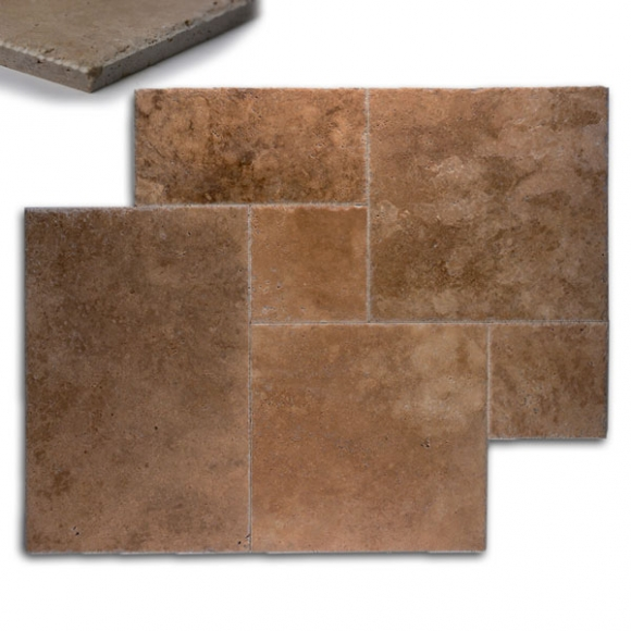 French Pattern Noce Premium Brushed-Chiseled Travertine Tile