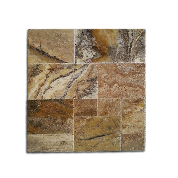 Walnut Dark Antiqued Travertine Tiles 18x18: French Pattern Roman Blend Walnut Select Tumbled Paver