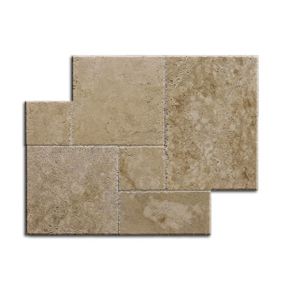 French Pattern Patara Medium Premium Brushed-Chiseled Travertine Tile