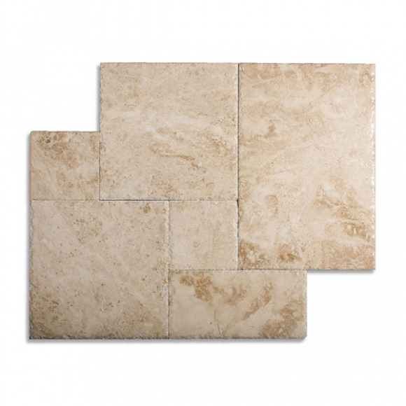 French Pattern Cappuccino Select Brushed-Chiseled Marble Tile