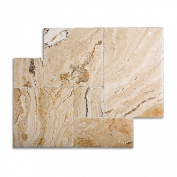 French Pattern Leonardo Select Brushed-Chiseled Travertine Tile