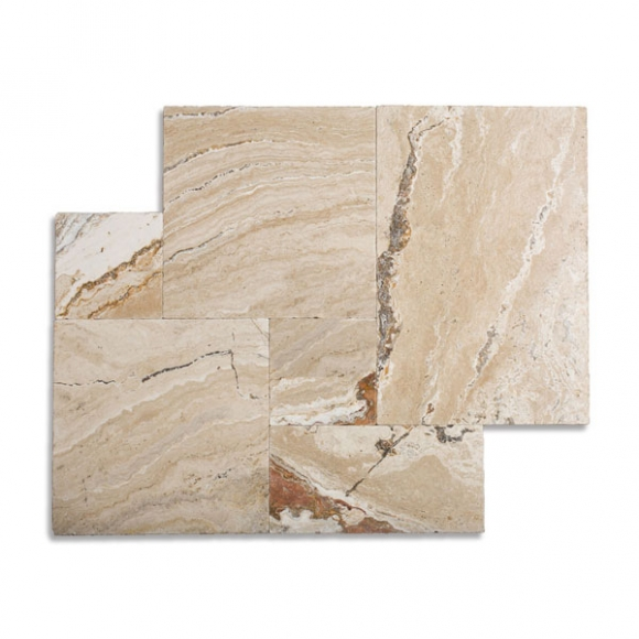 French Pattern Leonardo Select Tumbled Travertine Paver