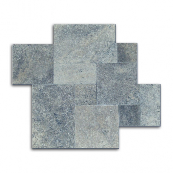 French Pattern Silver Select Tumbled Travertine Paver