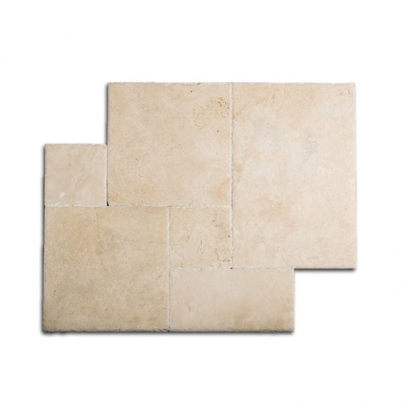 French Pattern Navona Light Brushed-Chiseled Travertine Tile